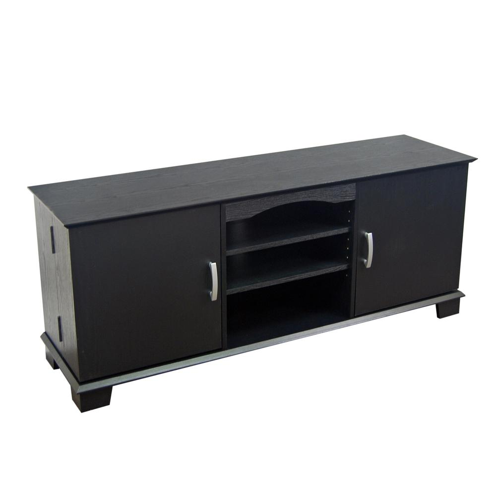 """60"""" Black Wood TV Stand Console. Picture 3"""