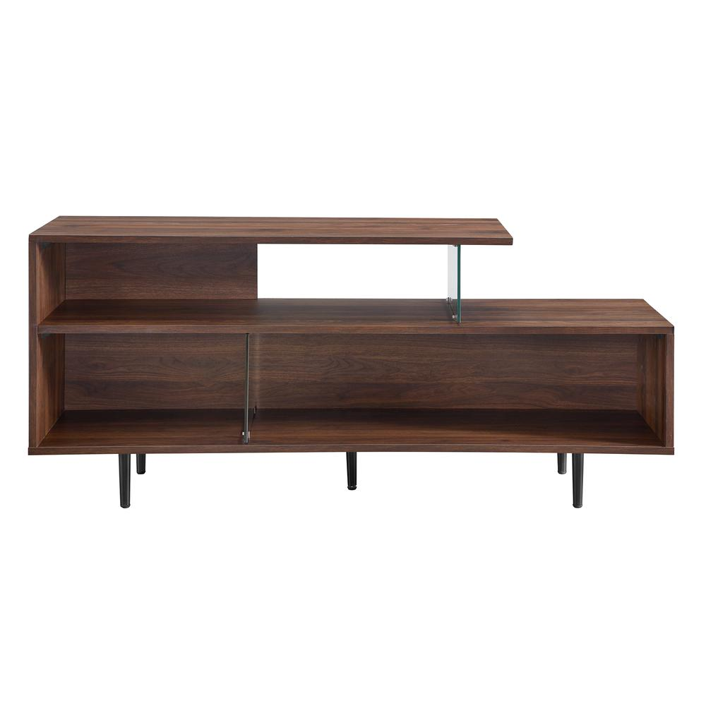 "60"" Asymmetrical Wood & Glass Console - Dark Walnut. Picture 1"