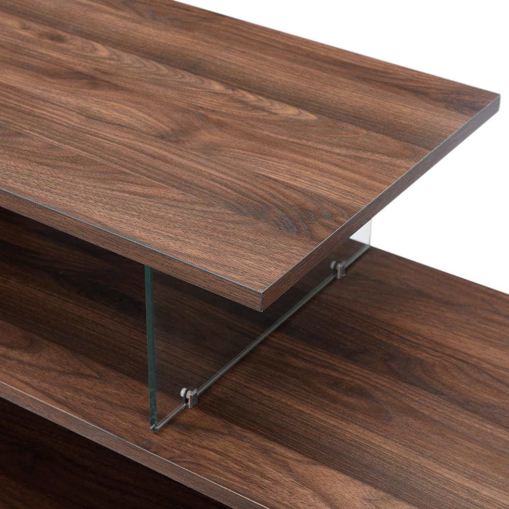 "60"" Asymmetrical Wood & Glass Console - Dark Walnut. Picture 4"