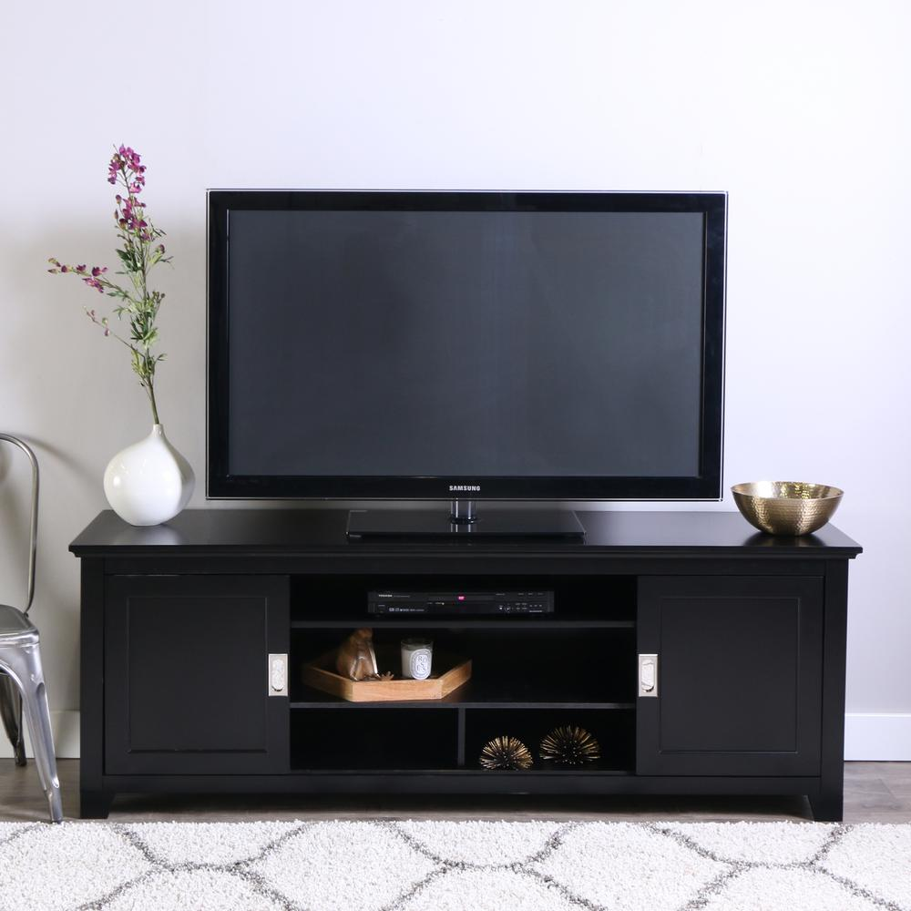 """70"""" Black Wood TV Stand with Sliding doors. Picture 2"""