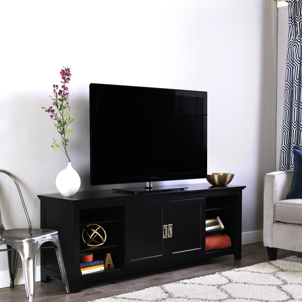 """70"""" Black Wood TV Stand with Sliding doors. Picture 1"""