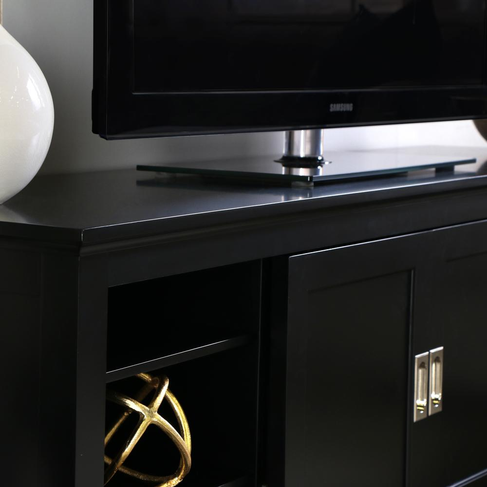 """70"""" Black Wood TV Stand with Sliding doors. Picture 3"""
