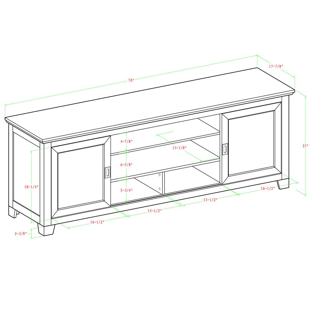 """70"""" Black Wood TV Stand with Sliding doors. Picture 6"""