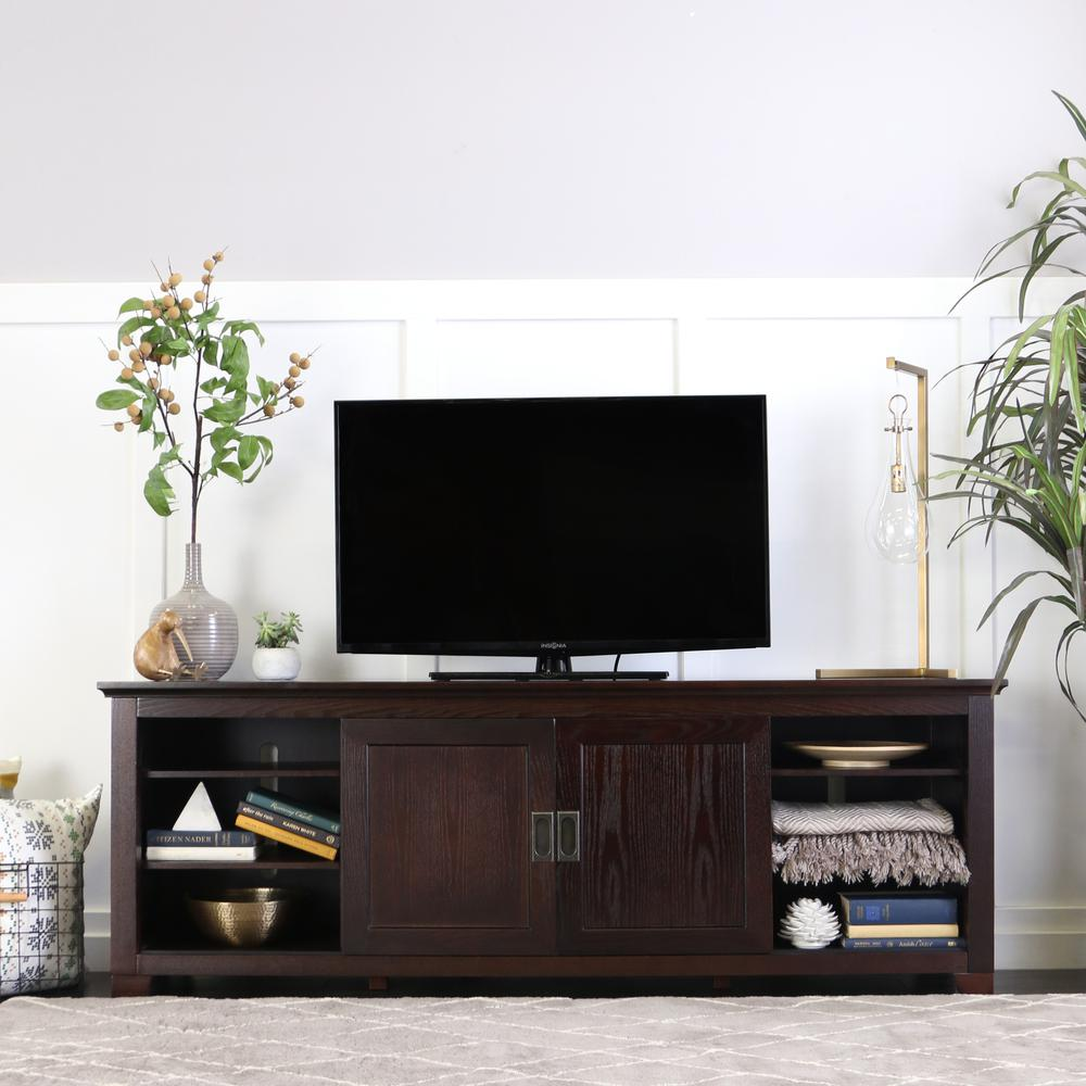 """70"""" Espresso Wood TV Stand with Sliding doors. Picture 2"""