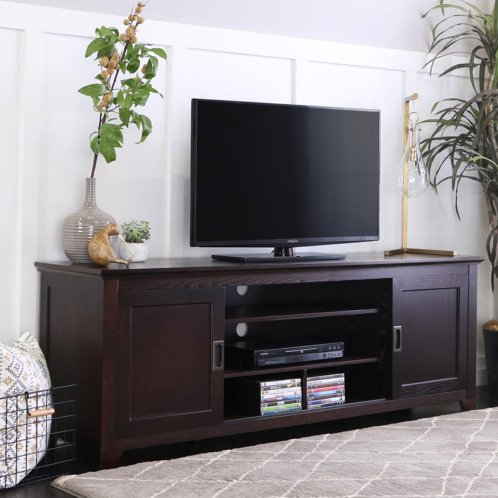 70 Quot Espresso Wood Tv Stand With Sliding Doors