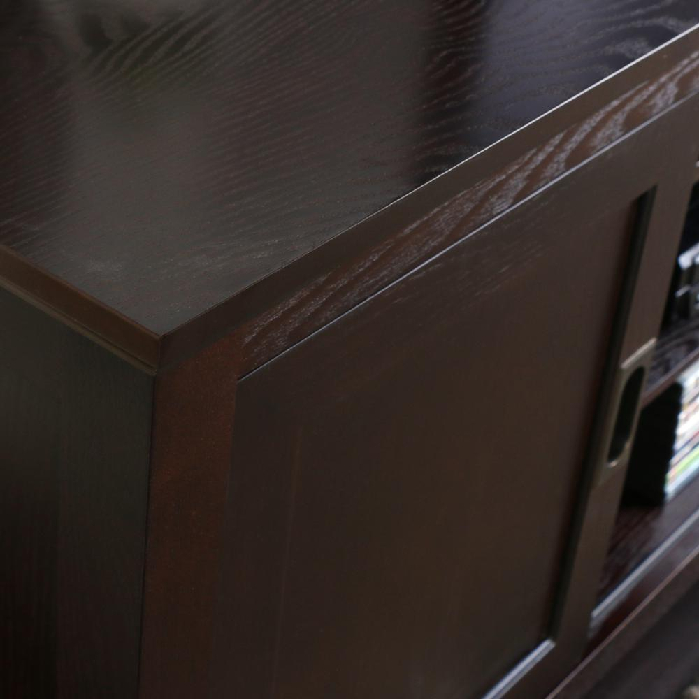 """70"""" Espresso Wood TV Stand with Sliding doors. Picture 3"""