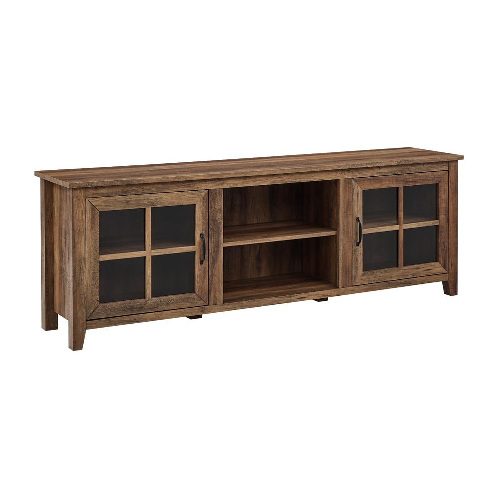 """70"""" Farmhouse Wood TV Stand with Glass Doors- Rustic Oak. Picture 2"""
