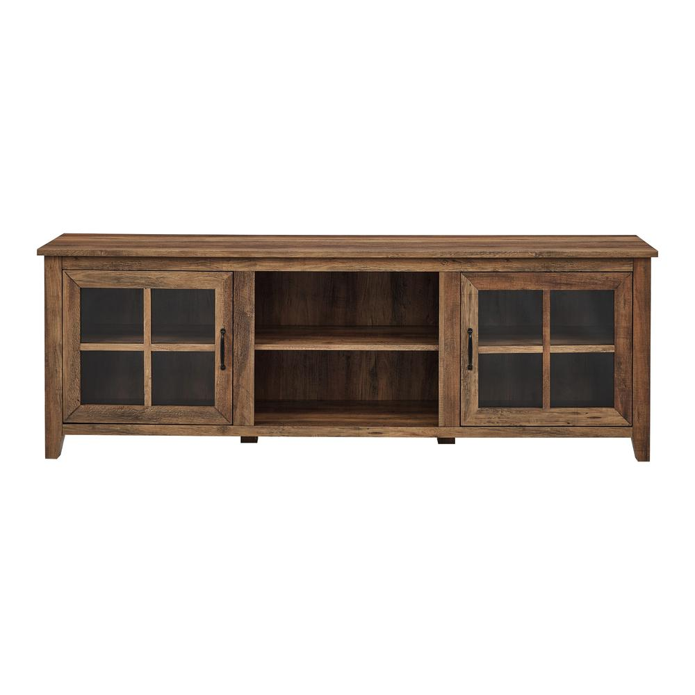 """70"""" Farmhouse Wood TV Stand with Glass Doors- Rustic Oak. Picture 1"""