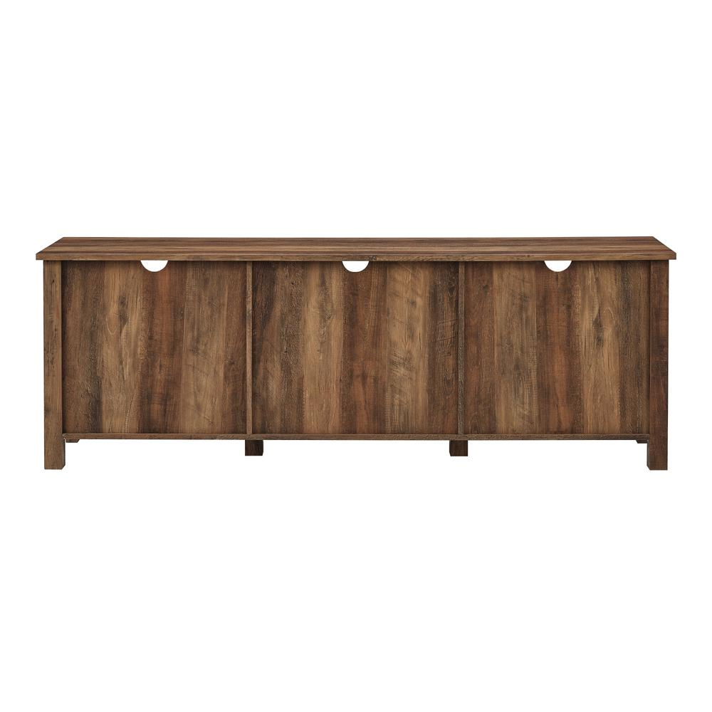 """70"""" Farmhouse Wood TV Stand with Glass Doors- Rustic Oak. Picture 3"""