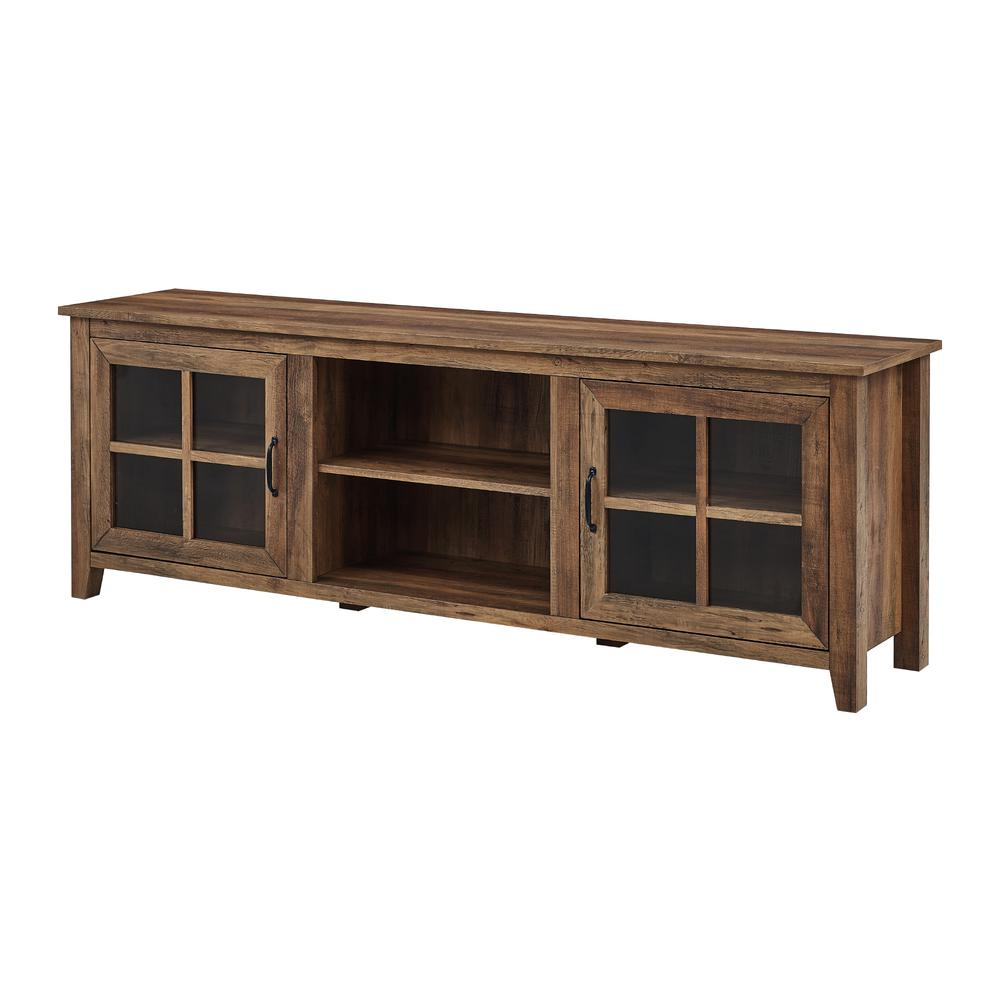 """70"""" Farmhouse Wood TV Stand with Glass Doors- Rustic Oak. Picture 4"""