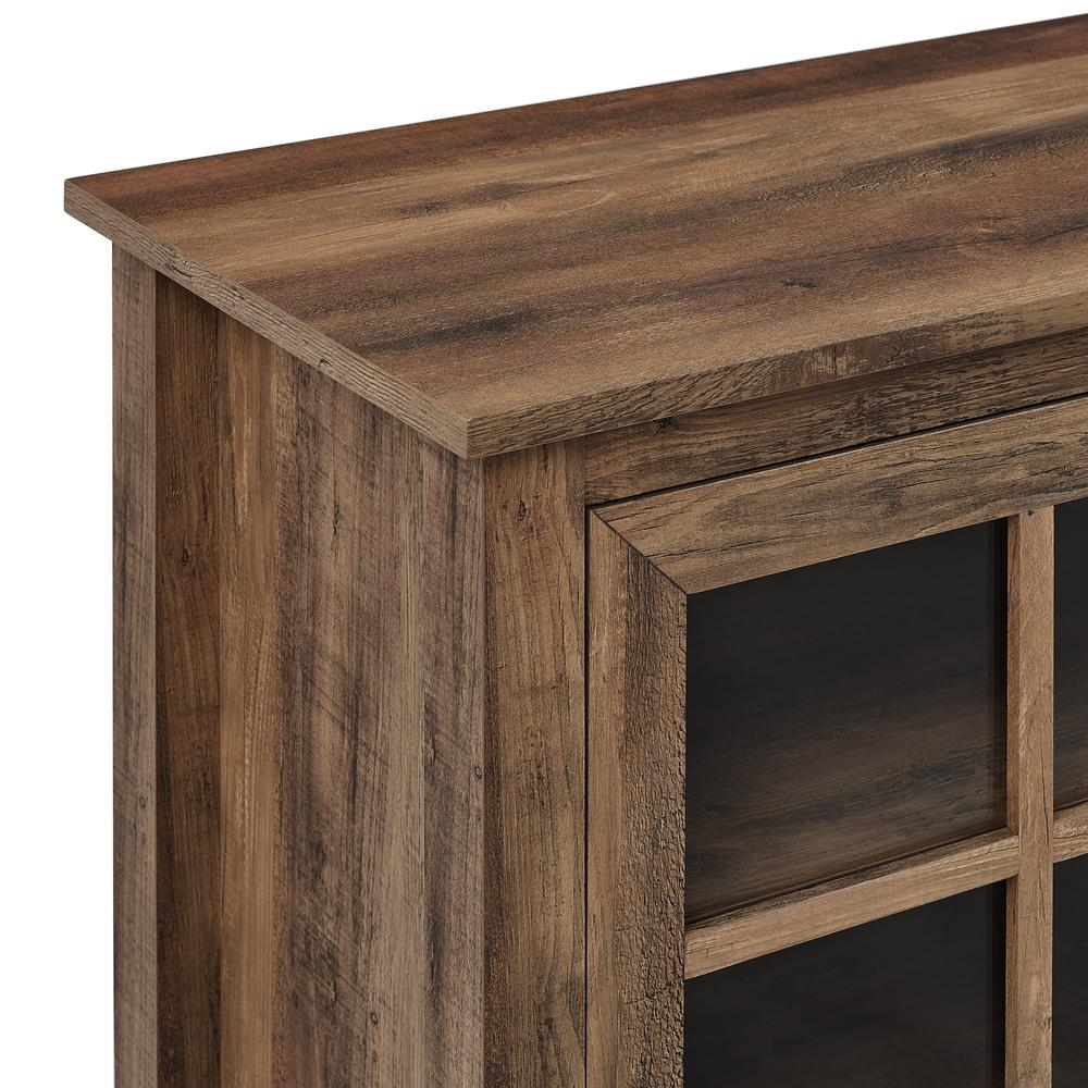 """70"""" Farmhouse Wood TV Stand with Glass Doors- Rustic Oak. Picture 5"""
