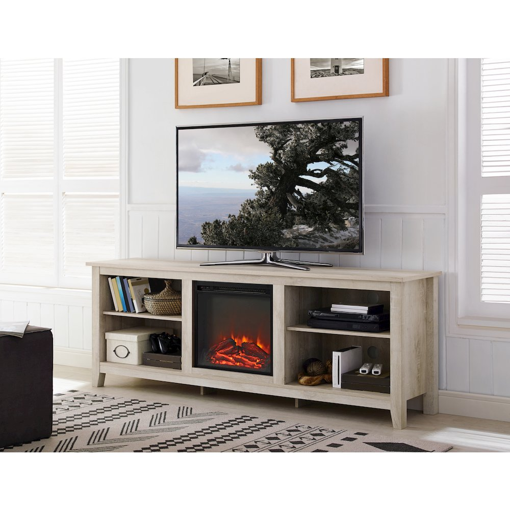 70 Quot Wood Media Tv Stand Console With Fireplace White Oak