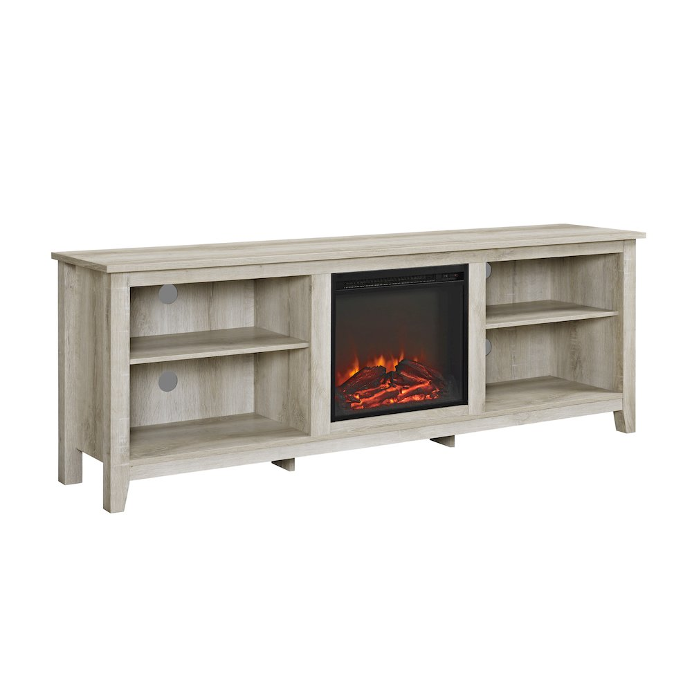 70 wood media tv stand console with fireplace white oak. Black Bedroom Furniture Sets. Home Design Ideas
