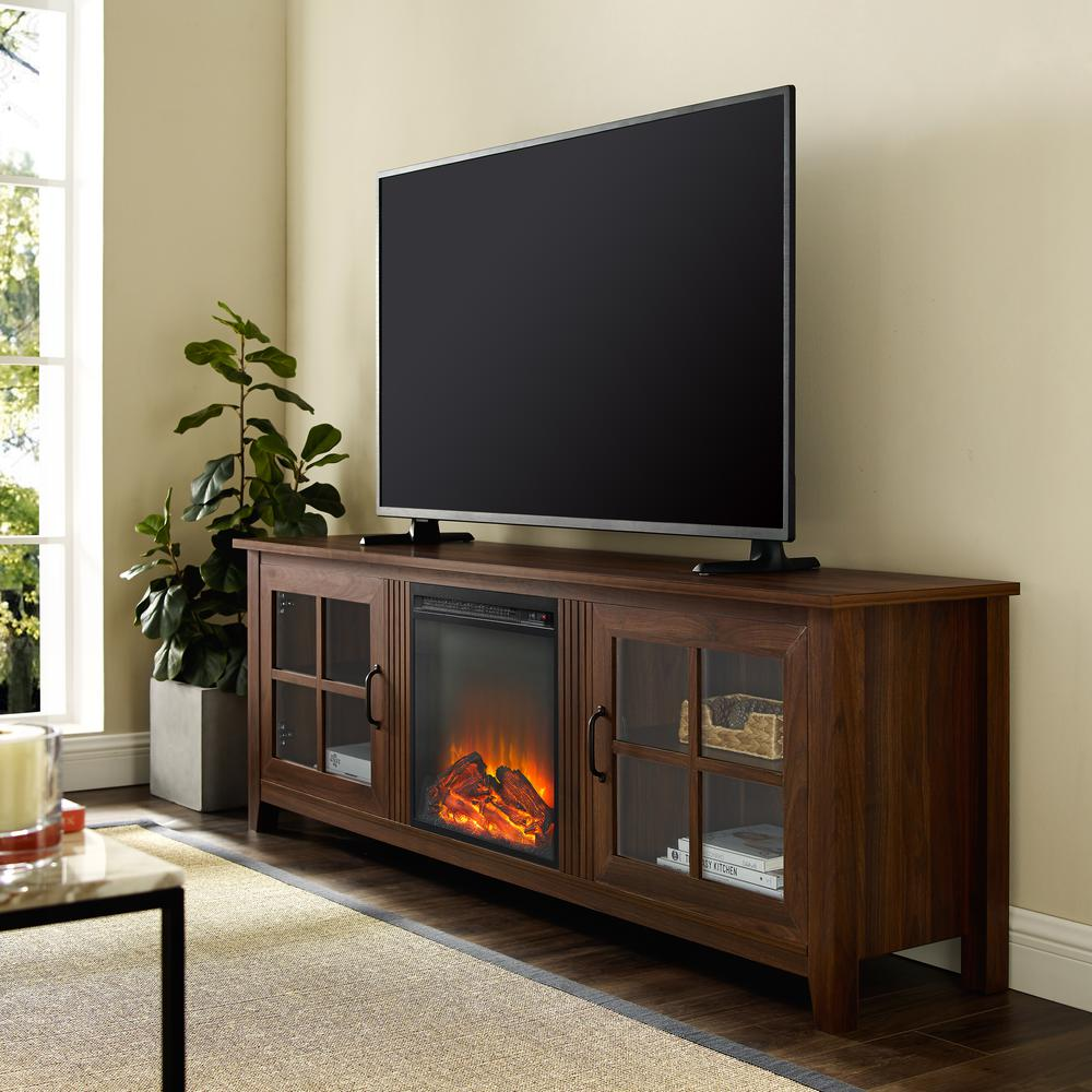 """70"""" Farmhouse Wood Fireplace TV Stand with Glass Doors - Dark Walnut. Picture 2"""