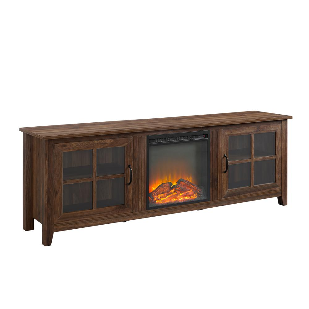 """70"""" Farmhouse Wood Fireplace TV Stand with Glass Doors - Dark Walnut. Picture 1"""