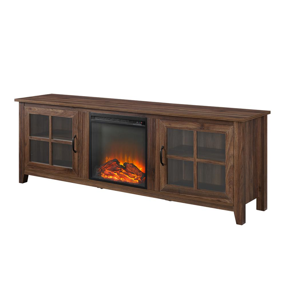 """70"""" Farmhouse Wood Fireplace TV Stand with Glass Doors - Dark Walnut. Picture 3"""