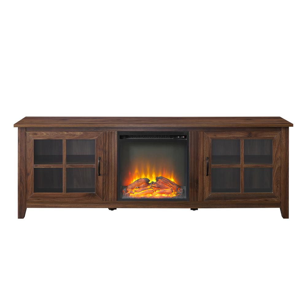 """70"""" Farmhouse Wood Fireplace TV Stand with Glass Doors - Dark Walnut. Picture 4"""