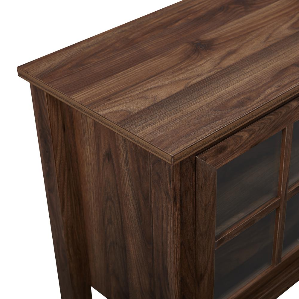 """70"""" Farmhouse Wood Fireplace TV Stand with Glass Doors - Dark Walnut. Picture 5"""
