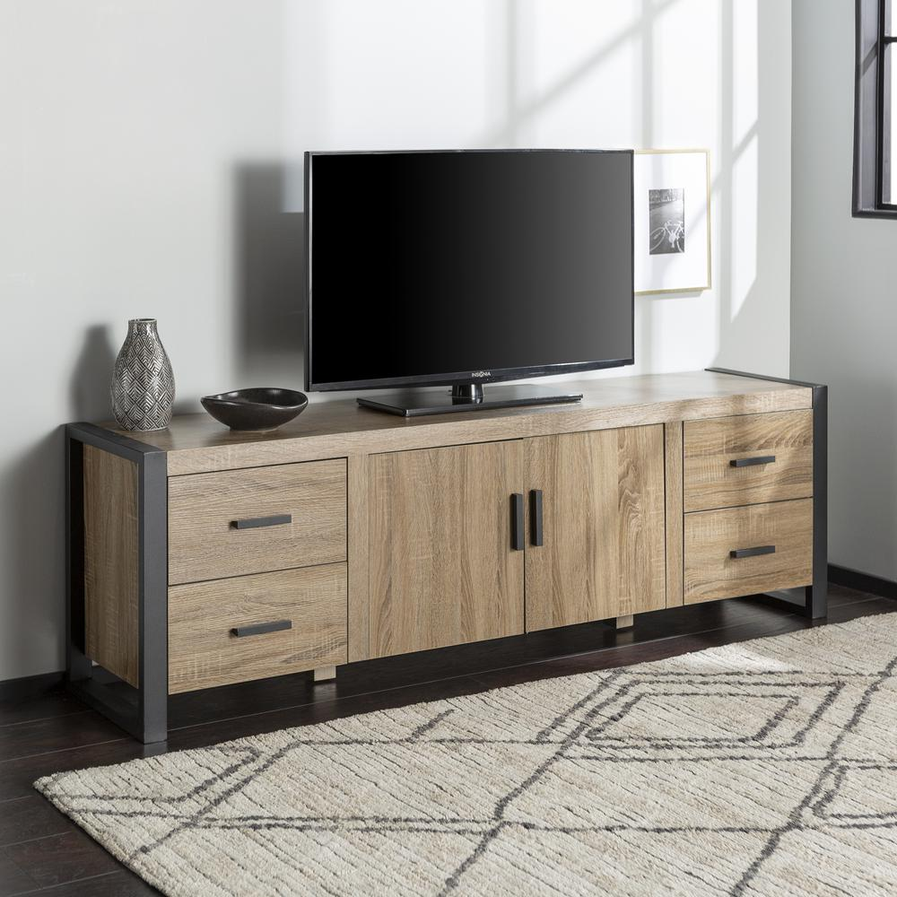"70"" Driftwood Wood TV Stand Console. Picture 2"