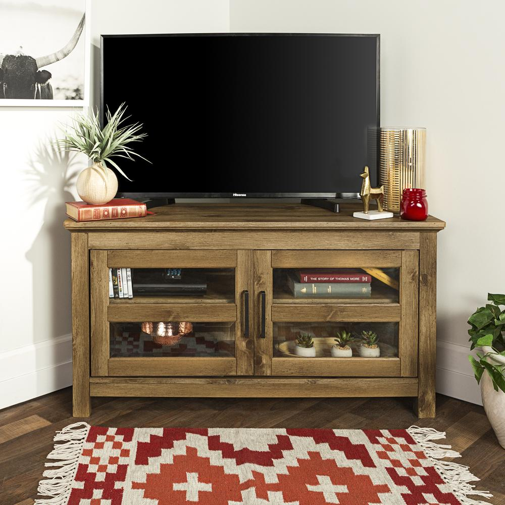 44 wood corner tv media stand storage console barnwood for Tv console with storage