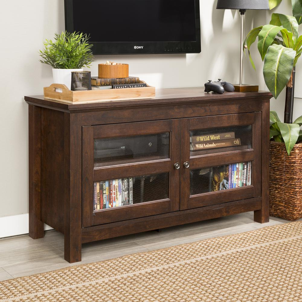 "44"" Brown Wood TV Stand Console. Picture 1"