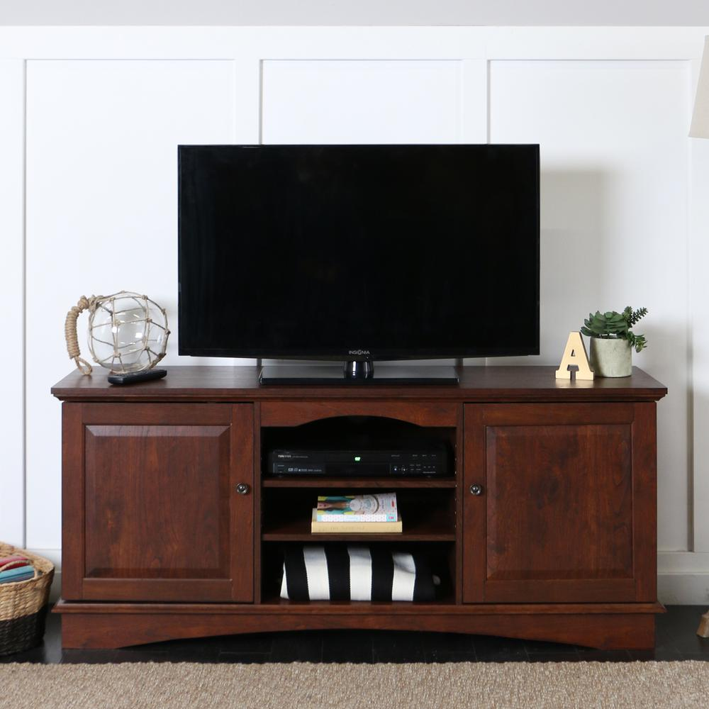 """60"""" Brown Wood TV Stand Console. Picture 2"""