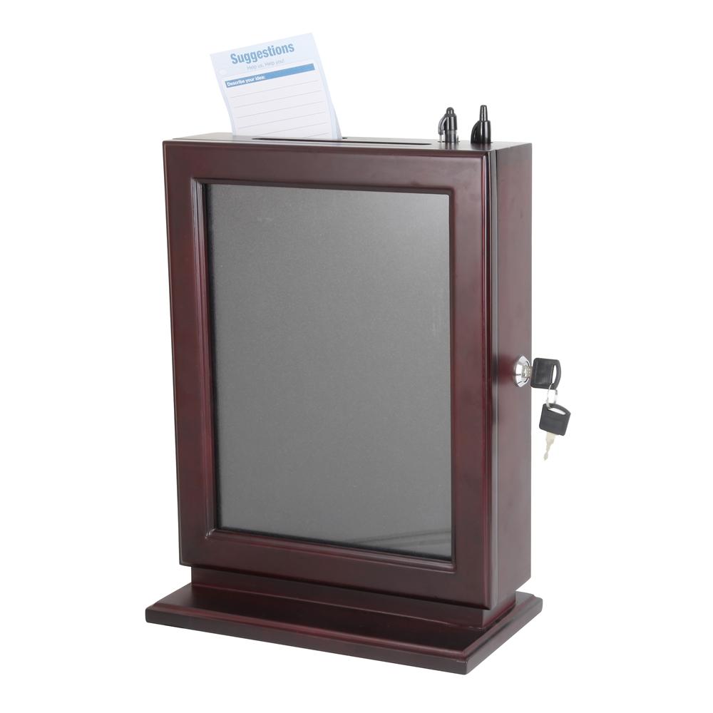 Acrylic ballot box staples : Customizable wood suggestion box mahogany