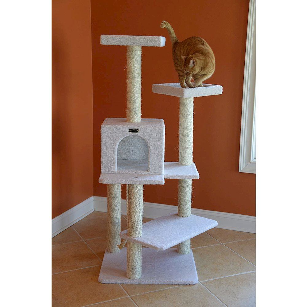 Armarkat Model B5701 57-Inch Classic Cat Tree in Ivory, Jackson Galaxy Approved, Four Levels with Two Perches and Two-Door Condo. Picture 7