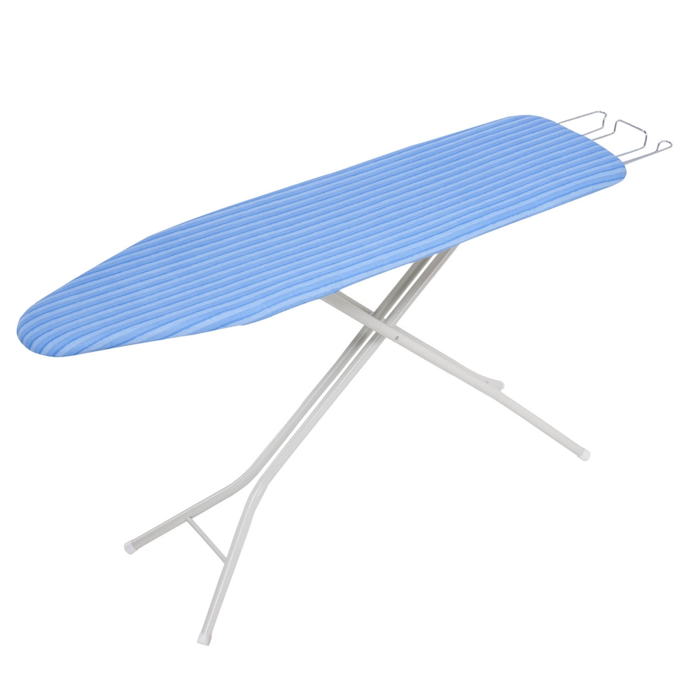 4 Leg Ironing Board With Retractable Iron Rest Pad Blue