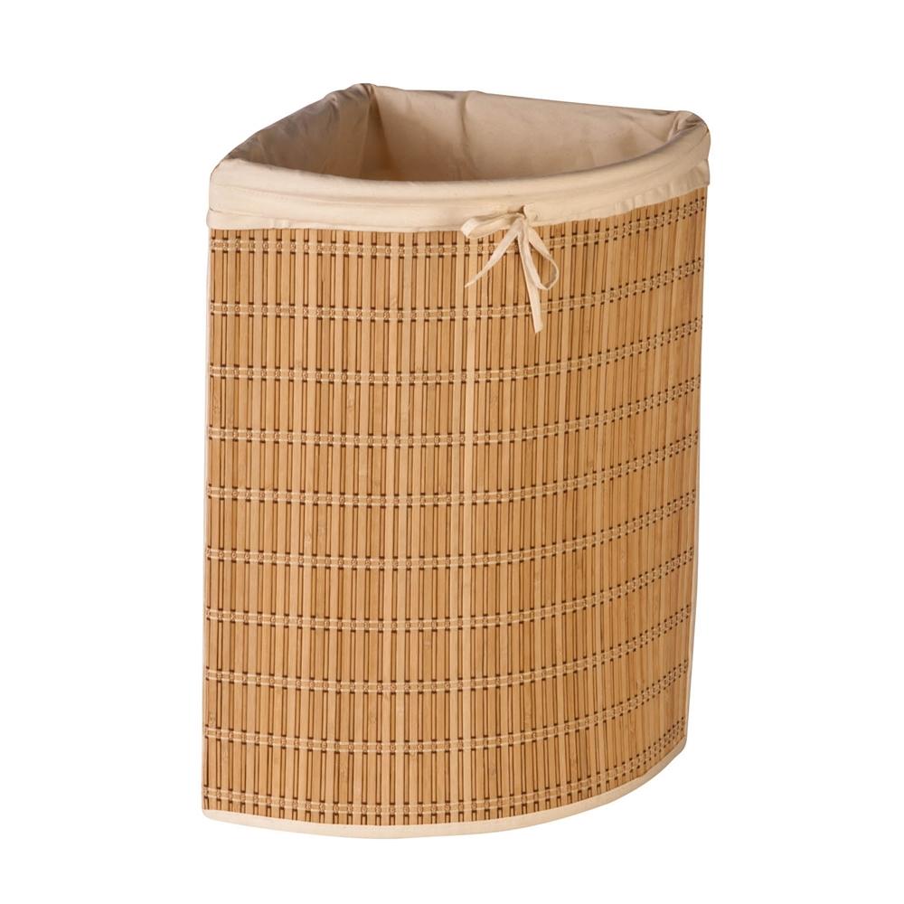 Bamboo wicker corner hamper natural bamboo beige canvas - Corner hamper with lid ...