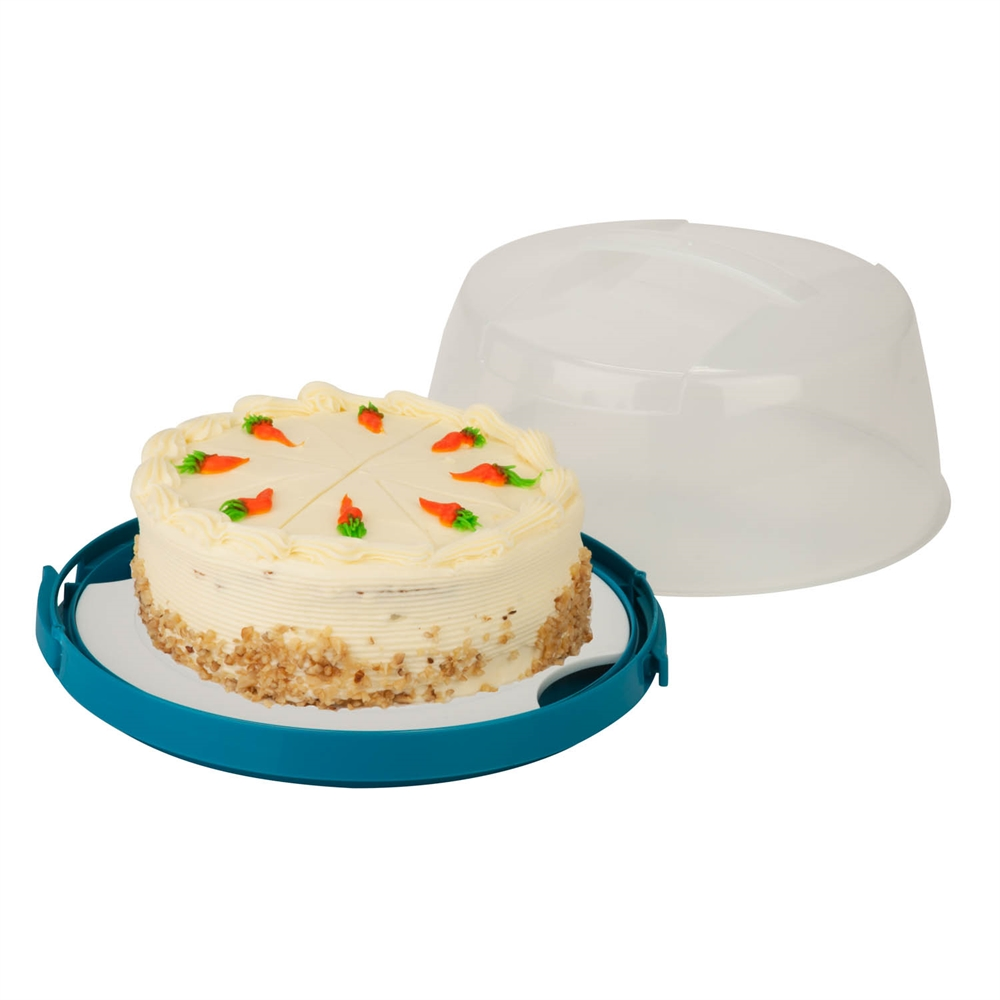 Round Cake Carrier Clear White And Blue