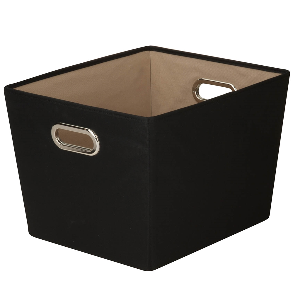 Medium Decorative Storage Bin With Handles Black