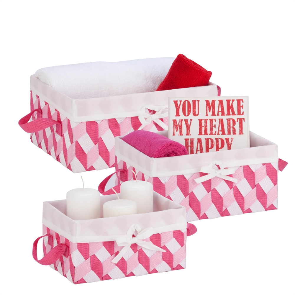 Twisted Tote Set Of 3 Pink Light Pink White