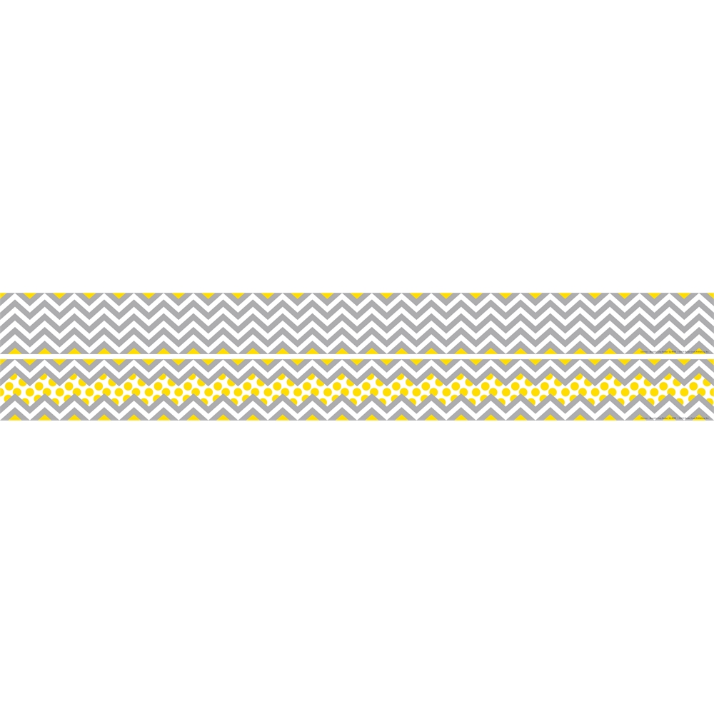 Double Sided Border Chevron Gray Amp Yellow 35 Feet
