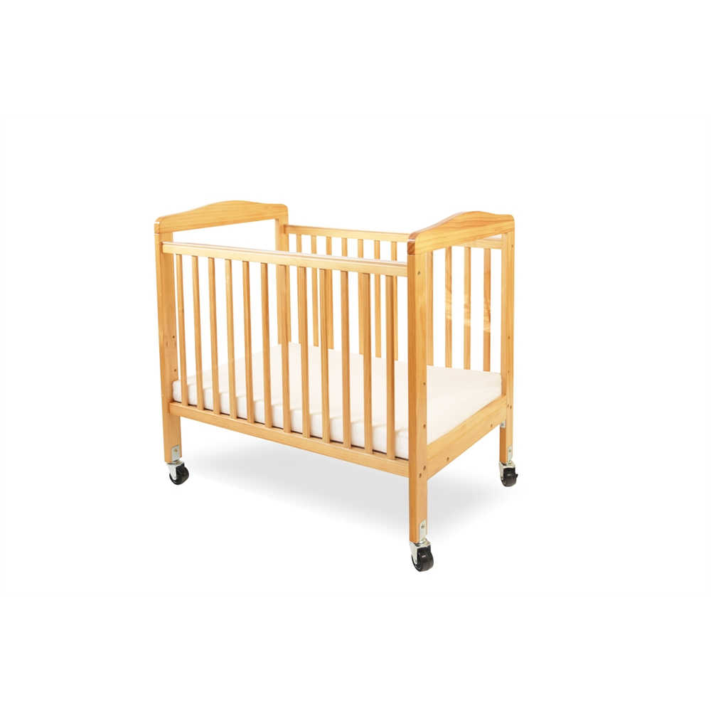 Compact Non-folding Wooden Window Crib, Natural. Picture 1