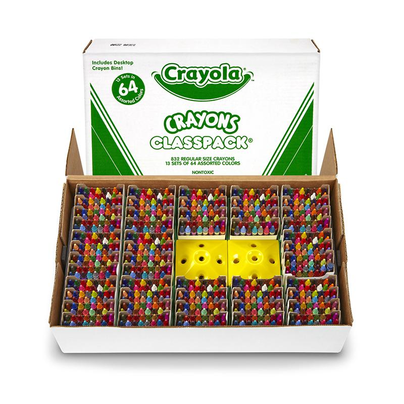 BINNEY & SMITH / CRAYOLA Classpack Regular Crayons, Assorted, 13 Caddies, 832/Box. Picture 1