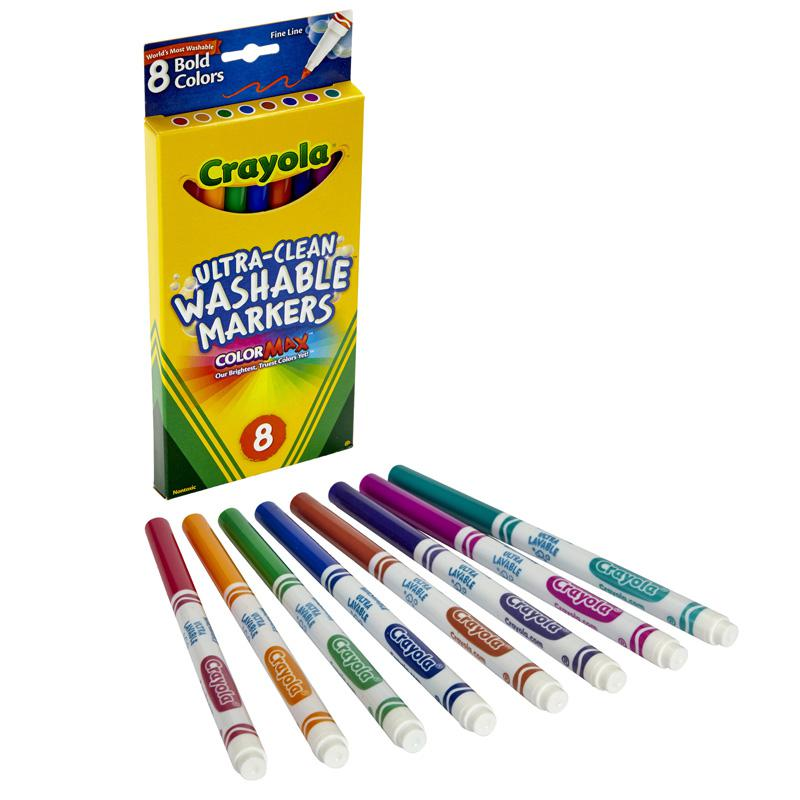 Crayola Washable Markers 8ct Bold Colors Fine Tip