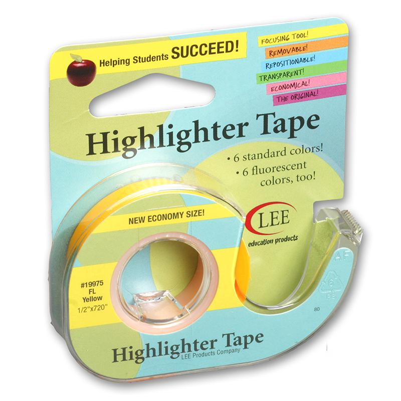 Lee Products Removable Fluorescent Yellow Highlighter Tape