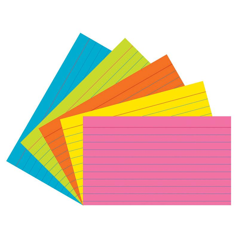Pacon Super Bright Assorted Index Cards Front Ruling