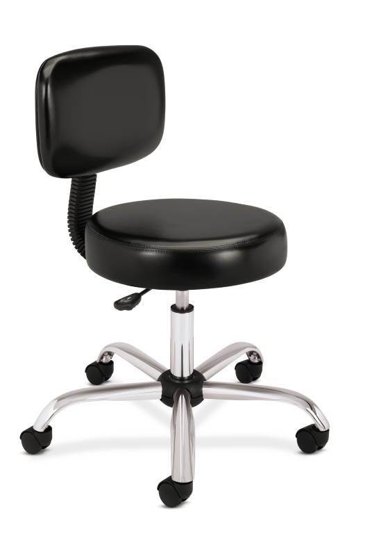 Medical Stool with Back   Black Vinyl. Picture 1