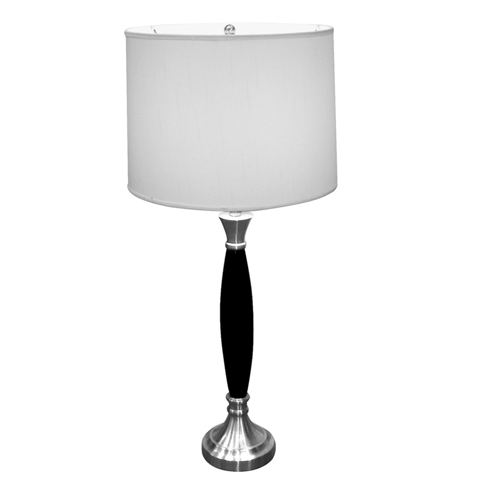 """30""""H Wooden Table Lamp - Chrome. Picture 1"""