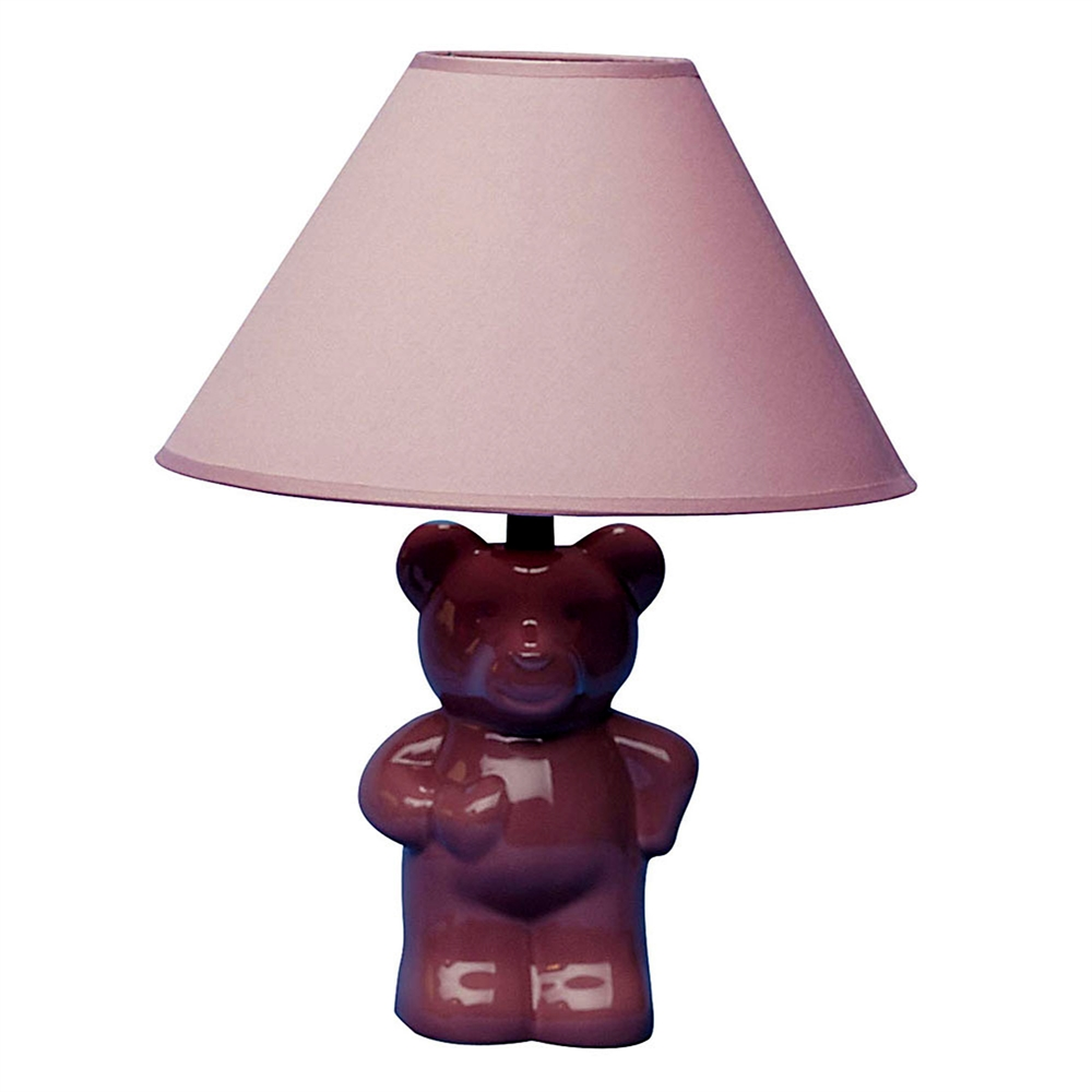 """13""""H Ceramic Teddy Bear Table Lamp - Pink. Picture 1"""