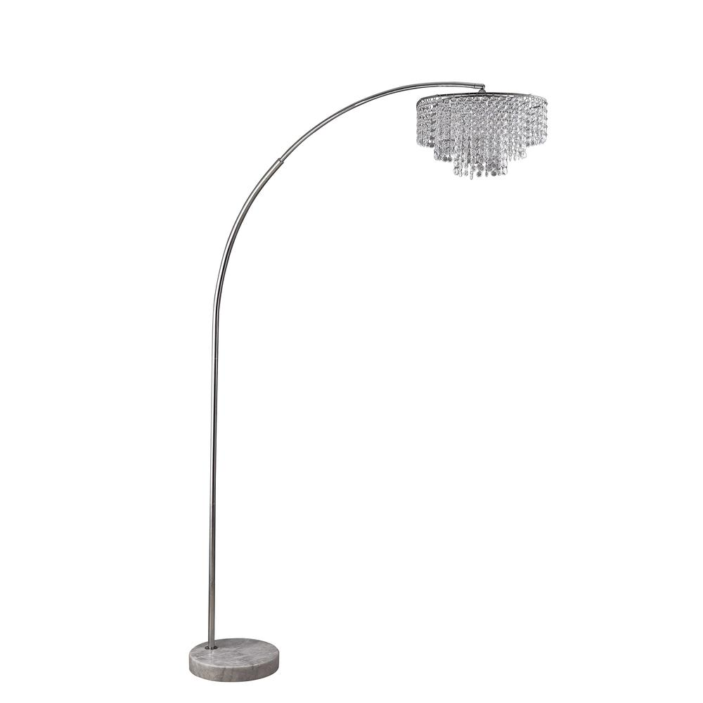 """86"""" In 2 Tier Clos Glam Silver Arch Floor Lamp On Marble. Picture 1"""