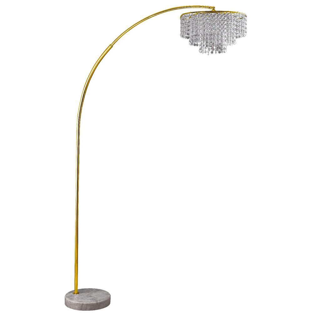 "86"" In 2 Tier Clos Glam Gold Arch Floor Lamp On Marble. Picture 1"