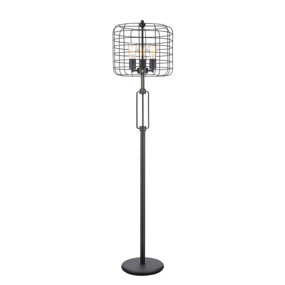 "63"" In Powder Coated Industrial Cage 3 Light Edison Floor Lamp. Picture 1"