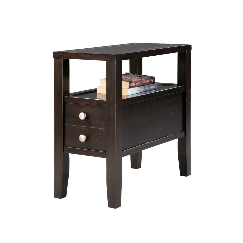 """24"""" Traditional Dark Espresso With 2 Drawers Side/End Table. Picture 1"""