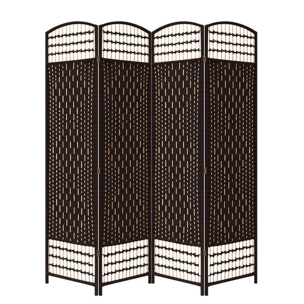 Espresso Brown Paper Straw Weave 4 Panel Screen On Legs, Handcrafted. Picture 1