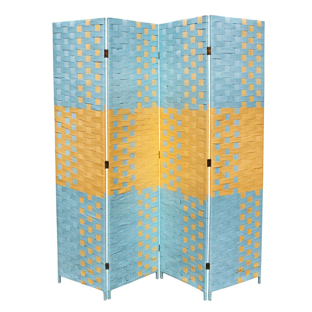 """Beach Blue/Natural Paper Straw Weave 4 Panel Screen On 2""""H"""