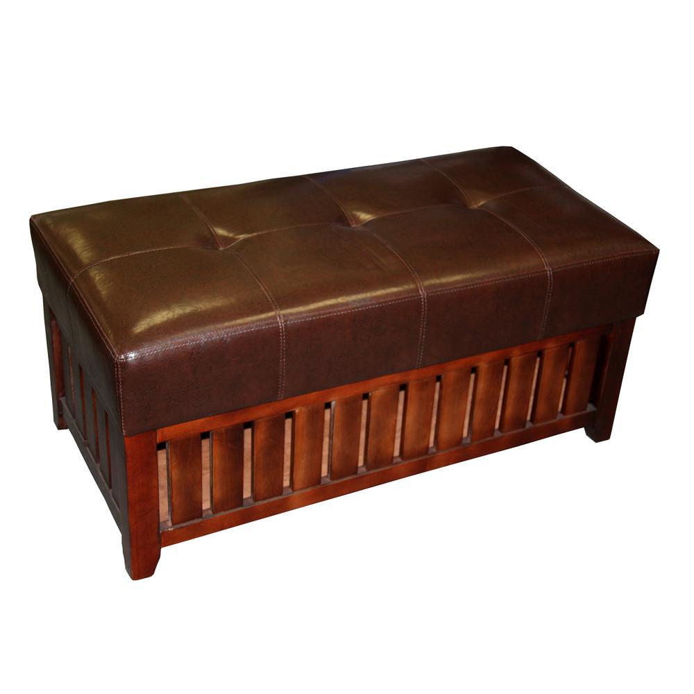 Brown Cushion Storage Wooden Bench. Picture 1