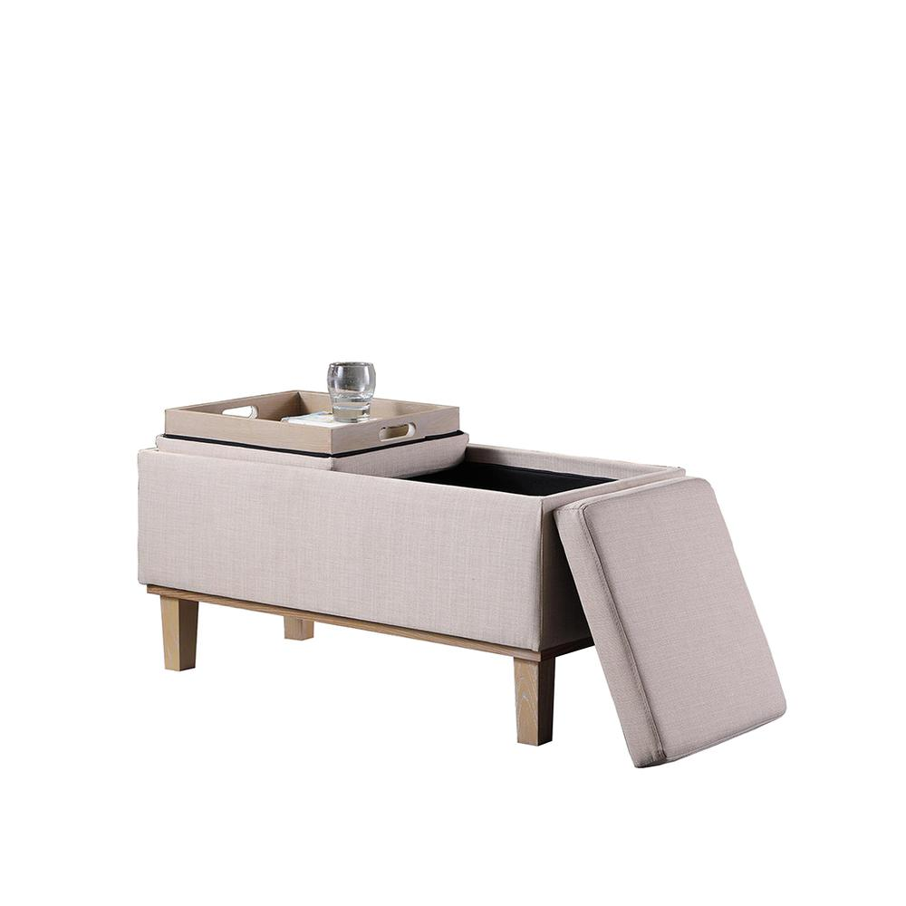 17 Quot In Cream Seat Flip Storage Bench W Unfinish Legs